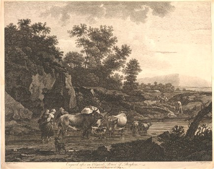 Engraving of landscape after Berghem