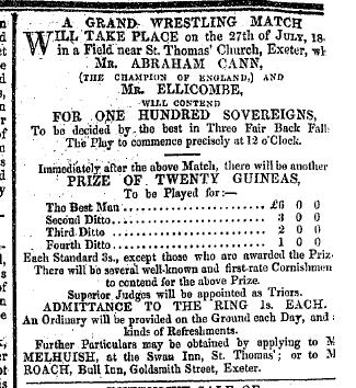 Advert for Cann match