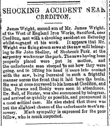 Newspaper report of accident