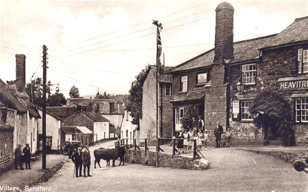 Sandford square with children and villagers