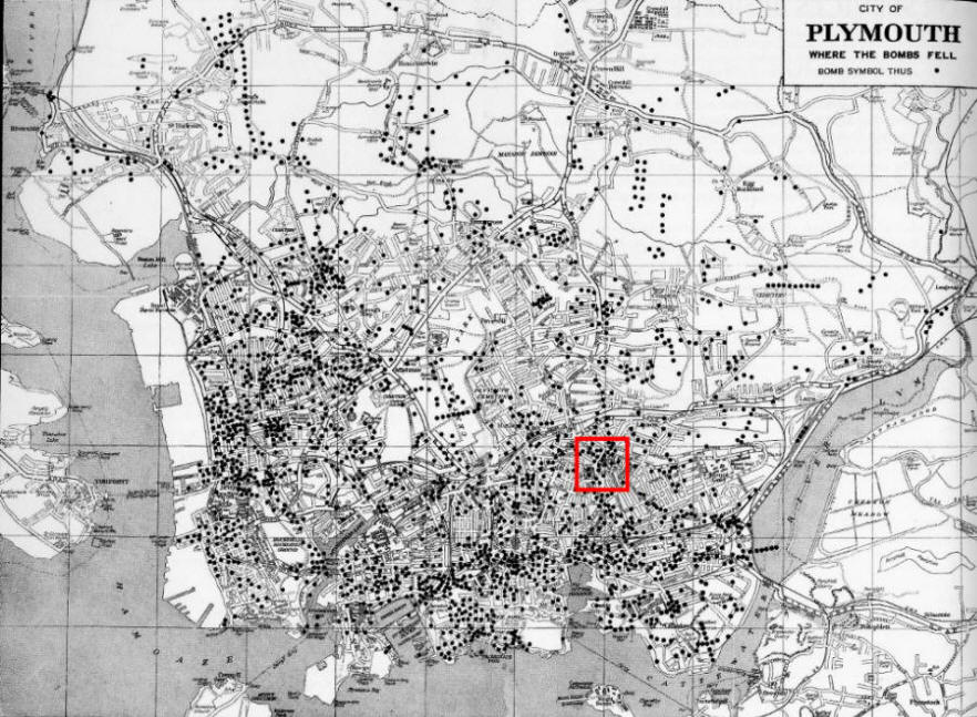 Map of bomb hits on Plymouth